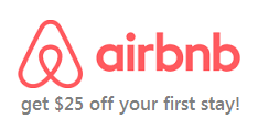 Get $25 off your first airbnb stay!